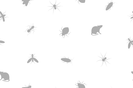 Seamless pattern insects and rodents pests. Background for service of pest control. Web banner with cockroaches, rats, spiders, ants, bed bugs, mosquitoes, mosquitoes. Vector illustration