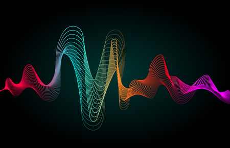 Music wave. Colored wavy lines isolated. Vector illustration.