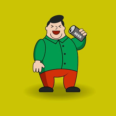 Fat man with can of beer. Cartoon character with obesity.