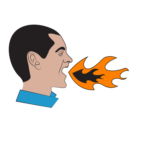 Man with flame in his mouth. Concept of heartburn, bad breath. Angry, aggressive man shouting.
