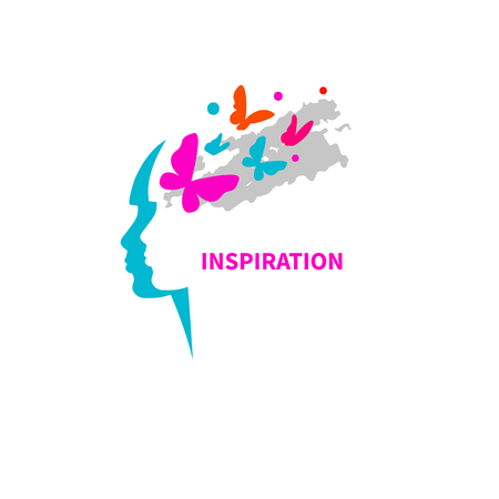 Imagination, inspiration. Profile of girl with flying butterflies. Vector