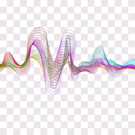 Music wave. Colored wavy lines isolated. Vector Illustration
