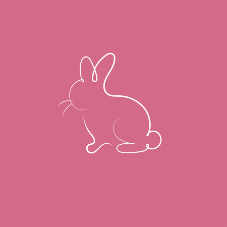 Hand drawn silhouette of rabbit. Icon of easter. White line bunny, hare. Symbol of vegetarian. Not tested on animals. Vector illustration