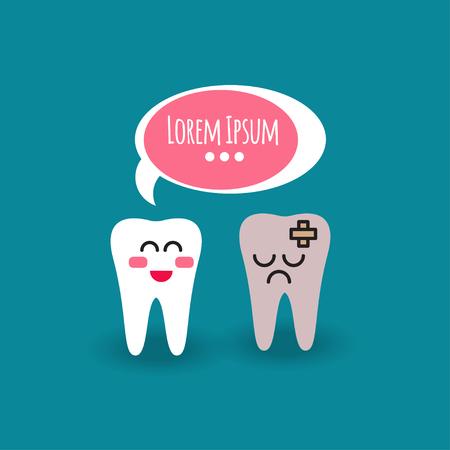 Dent et dents saines. Bande dessinée illustration des molaires de dents avec des bulles. Traitement blanchissant chez le dentiste. Graphiques vectoriels