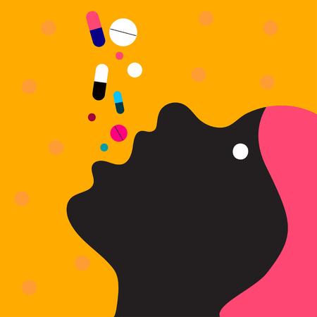 女性は多くの薬を服用します。薬物の過剰摂取口を開いている女の子の頭。ベクトルイラスト
