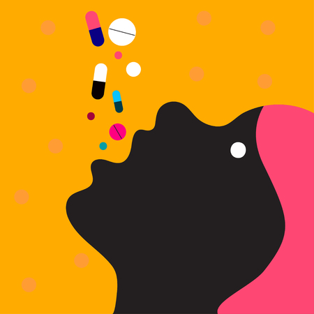 Woman takes many pills. Overdose of drugs. Head of girl with open mouth. Vector illustration