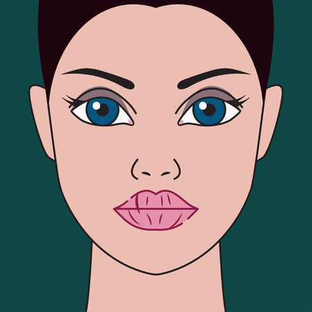 Dry lips. Woman with chapped lips. Vector illustration