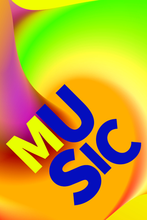 Poster electronic music. Banner gradient color. Abstract neon background, backdrop, template, card. Vector illustration