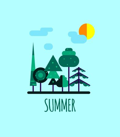 Summer forest landscape. Green trees, spruce, clouds, sun. Vector illustration in flat style Illustration