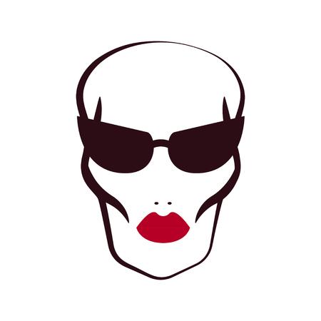 Print skinhead girl. Thin woman with sunken cheeks, sharp cheekbones and red lips. Vector illustration