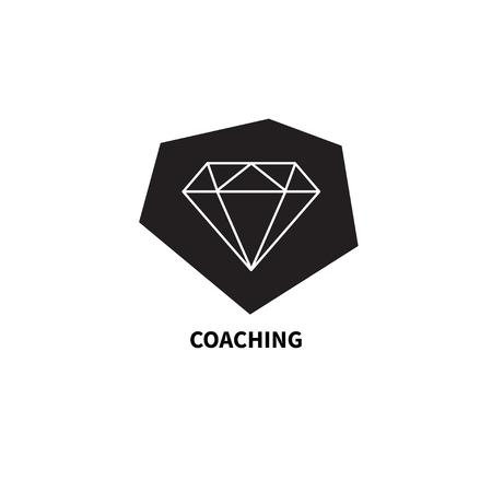 Icon Diamond. Icon coaching, diamond in stone. Concept of change, improvement, growth, development Vector illustration