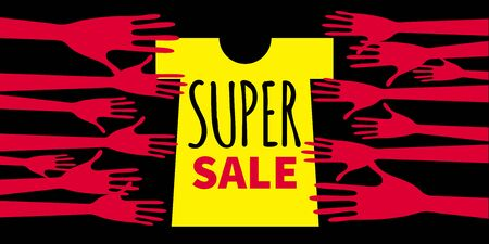 Banner clearance sale. Hands reaching out for the shirt sale. Flyer summer discounts in the store. Vector illustration