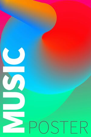 Musical poster. Template flyer, banner, background for advertisement of night club, summer music party. Fluid, flow of color.