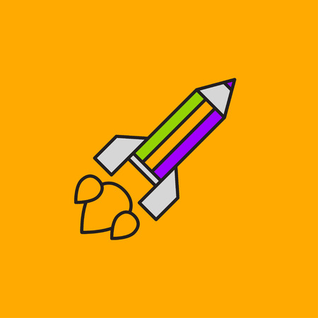 Pencil rocket launched into space. Logo icon blogger, writer, journalist, advertiser, copywriter. Vector illustration