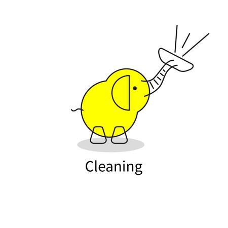 Elephant with vacuum cleaner Vector illustration.
