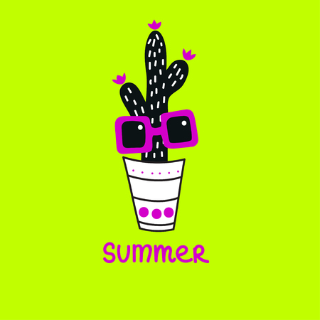 Cactus with sunglasses in pot. Cartoon hand drawn cactus character. Element banner for summer party.