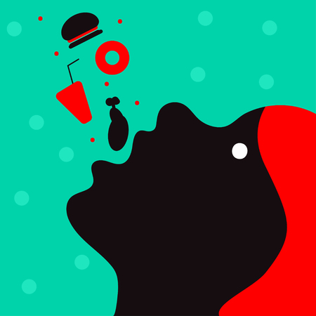 Woman eating fast food. Girl eating junk food. Vector illustration in flat style Illustration