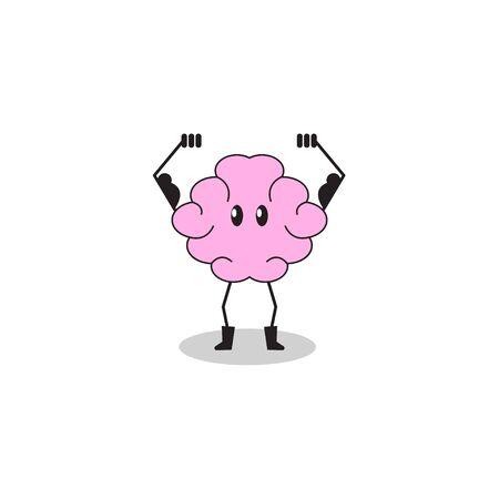 Brain training. Cartoon character brain performing exercise, mental health, strong intellect, smart mind. Vector illustration. Illustration