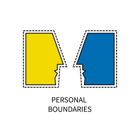 Personal boundaries icon, two people face to face vector illustration.
