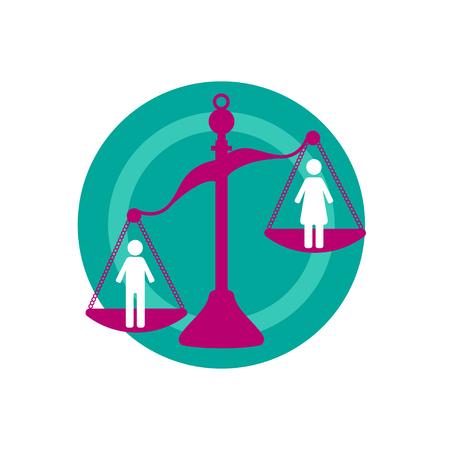 Discrimination against women. Scales tilt in favor of man, unequal gender rights. Vector illustration