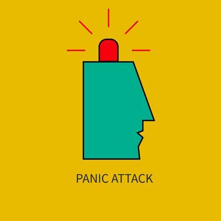 Panic attack. Man with siren in his head. Vector illustration. Ilustracja