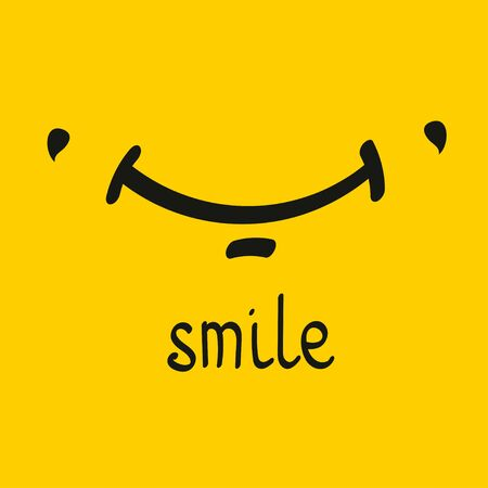 Smile card. Hand drawn smiley with dimples. Vector illustration