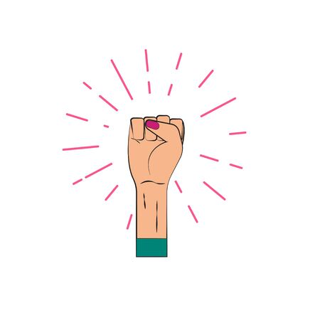 Female fist raised up feminism feminist, protest against discrimination and violence. Vector illustration