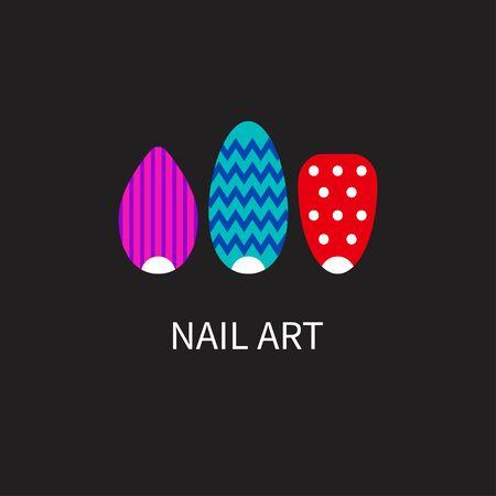 Gel nail polish with geometric pattern. Logo, icon nail salon, Spa. Vector illustration