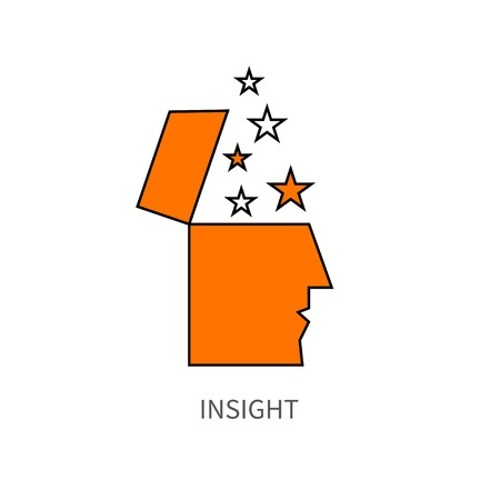 Insight. People with open mind and stars, imagination, brainstorm, icon inspiration. Vector illustration.