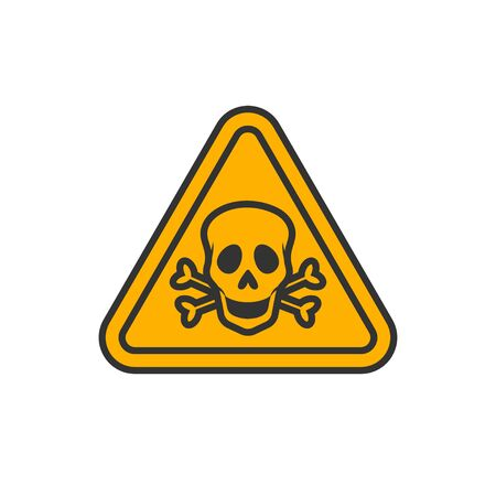 Triangular yellow danger sign, skull and crossbones. Vectorial illustration