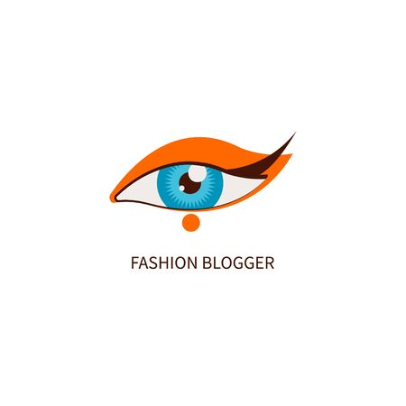 Fashion blogger, eye makeup. Icon stylish blog, maker Vector illustration Stock Photo
