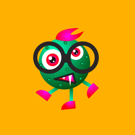 Character microbe, virus, bacterium, germ, cartoon funny crazy green monster in hipster glasses. Vector illustration