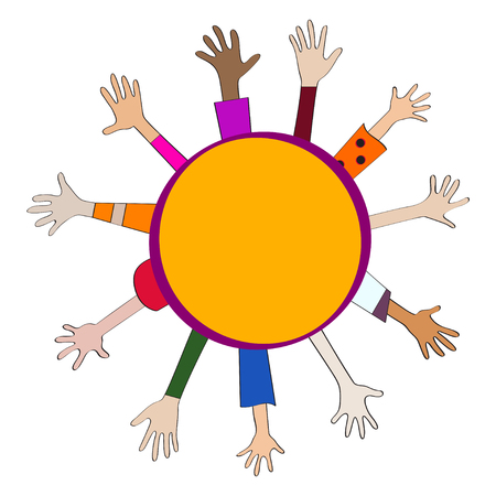 Round childrens banner, circle kids frame with stretching hands, arms, happy childhood.