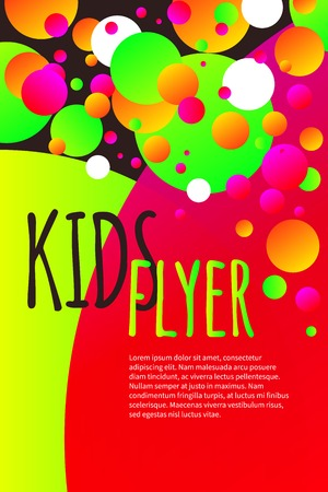Kids bright flyer with confetti Illustration