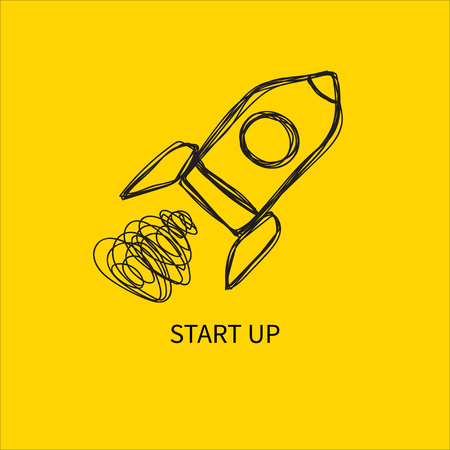 Rocket hand drawn doodle launch start up icon Illustration