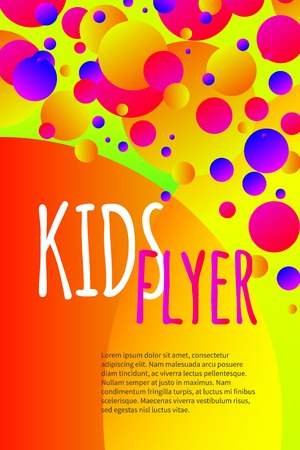 Kids bright flyer with confetti, abstract summer banner, poster, template, background for birthday invitation. Vector stock