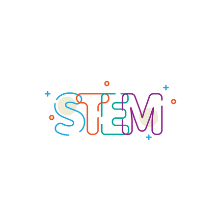 Word stem, line lettering, linear icon with cosmic sign. Vector stock Illustration