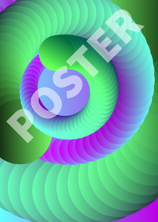 Poster with spiral, green flyer electronic music, futuristic banner with helix, color abstract background, vector illustration