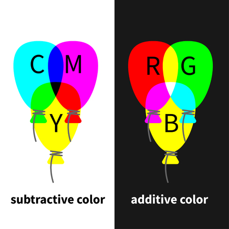 RGB and CMY, color models. Vector illustration