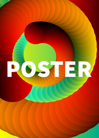 Poster with spiral, red flyer electronic music, futuristic banner with helix, color abstract background, vector illustration Illustration
