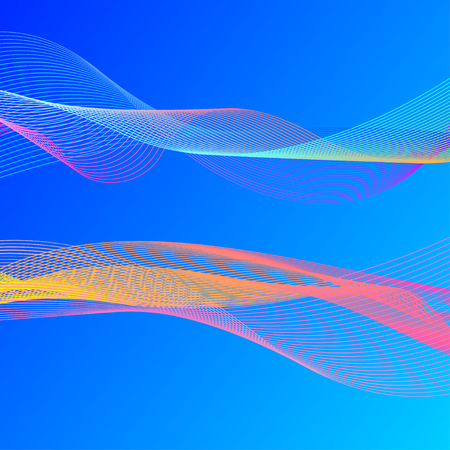 Set smooth flow lines isolated on blue background. Abstract wave, soundwave, sound. Vector illustration