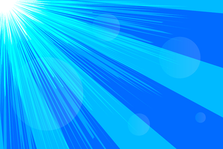 Banner sky, rays, abstract blue summer background. Vector illustration