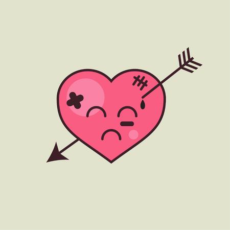 Corazón con flecha, amor infeliz. Ilustración vectorial