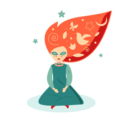 Dreamer, girl with red hair, imagination and inspiration. Vector illustration