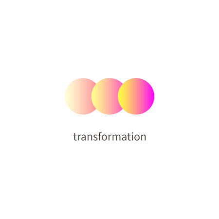 Logo change, transformation. Business icon, innovation, development, coach, coaching Vector illustration of circle changing color