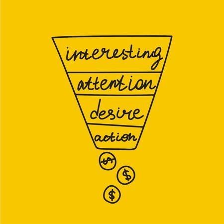 Sales funnel, promotion in online business, promotion strategy scheme, online trading, sketch sales funnel. Vector illustration