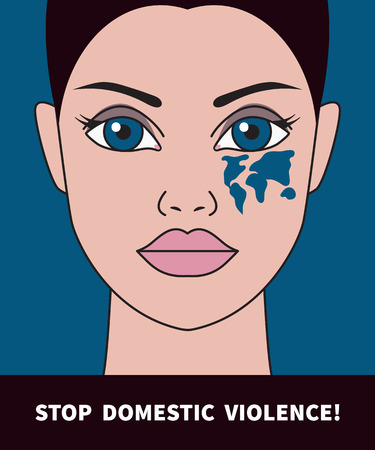 Domestic violence, woman with black eye, bruise in shape of a world map, help victims abuse, poster violence. Vector illustration