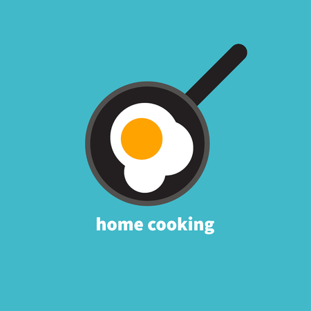 Home cooked food, fried eggs, fried eggs in frying pan, healthy breakfast, home cooking breakfast in cafe, omelet icon. Vector illustration Illustration