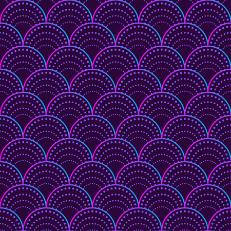 Mermaid tail pattern, seamless pattern with circles, traditional oriental ornament, purple fish scales. Vector illustration