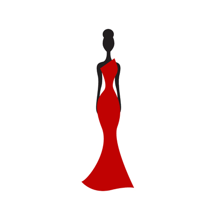 Silhouette of slender woman